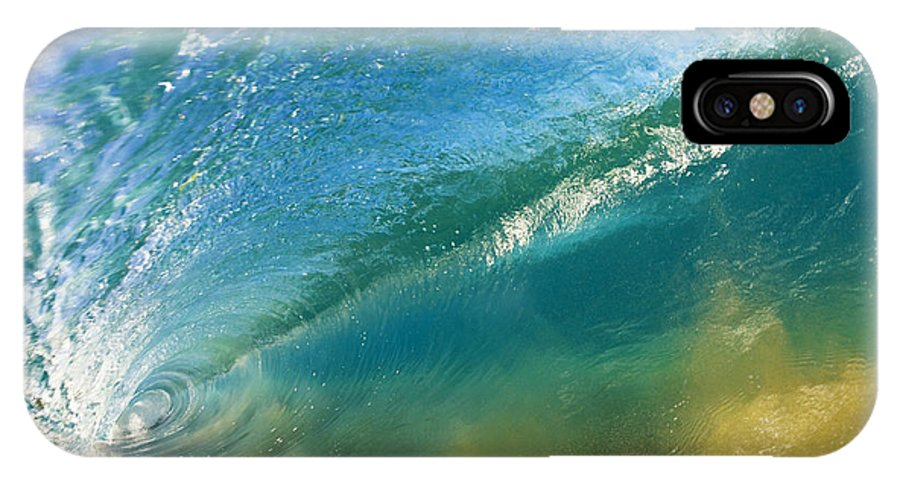 Aqua IPhone X Case featuring the photograph Beautiful Wave Breaking by MakenaStockMedia
