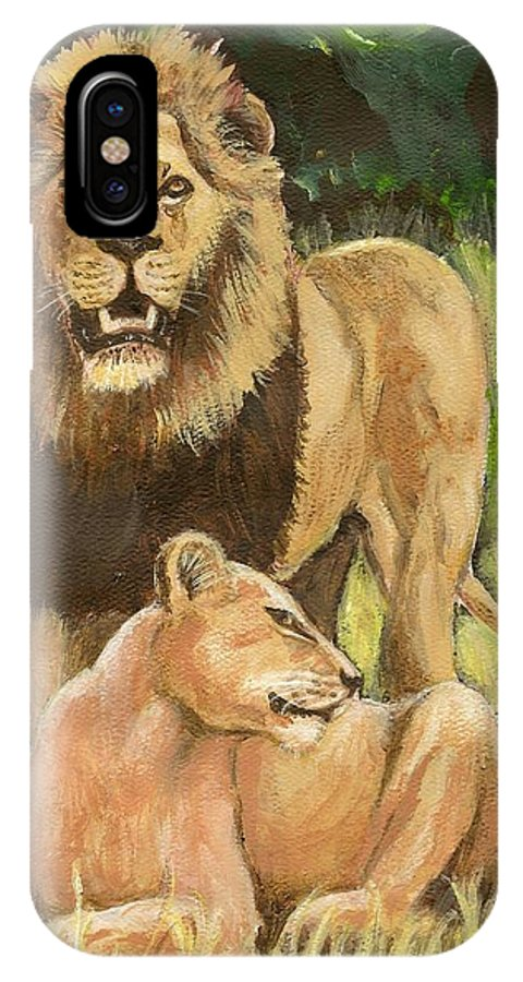 Lions IPhone X Case featuring the painting Beauty And The Beast by George I Perez