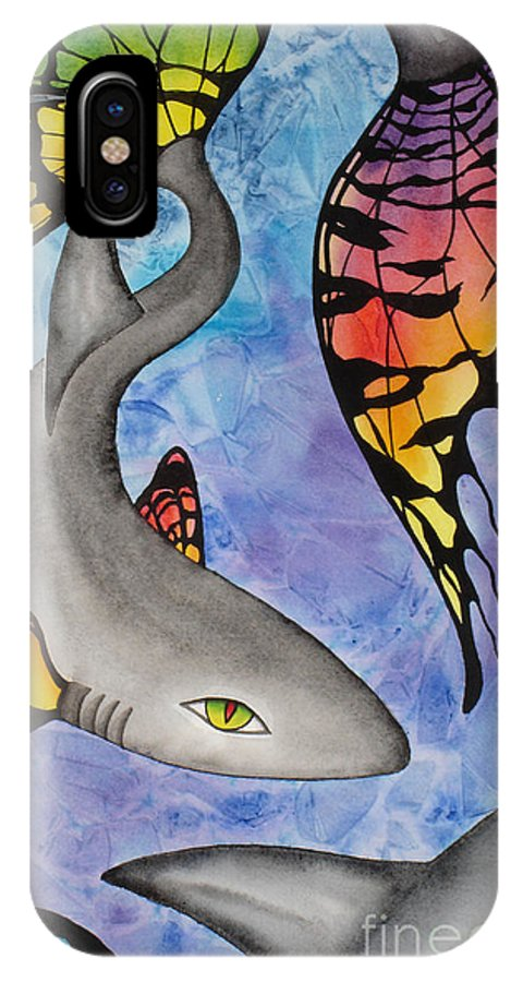 Surreal IPhone X / XS Case featuring the painting Beauty In The Beasts by Lucy Arnold