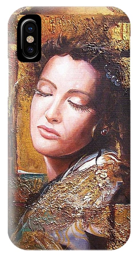 Female Portrait IPhone X Case featuring the painting Because You Are Beautiful by Sinisa Saratlic