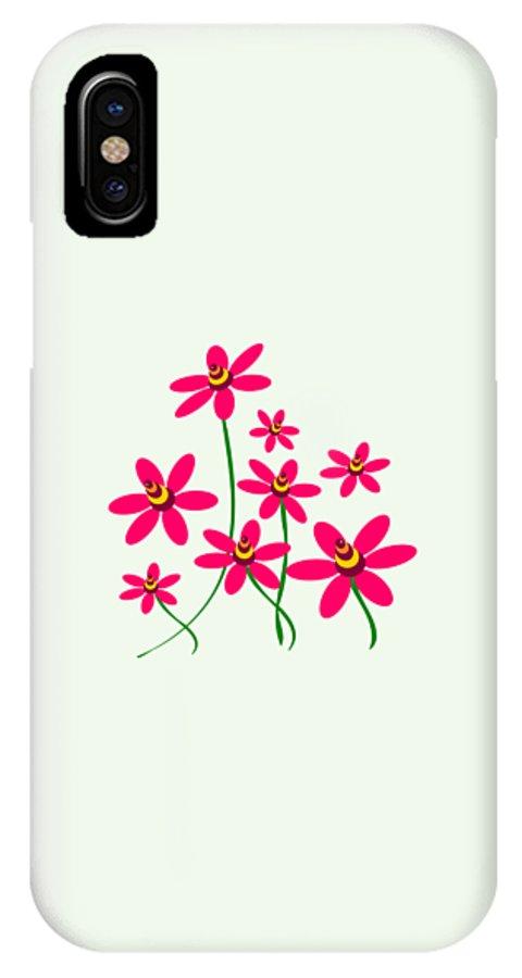Abstract IPhone X Case featuring the digital art Bee Flowers by Anastasiya Malakhova