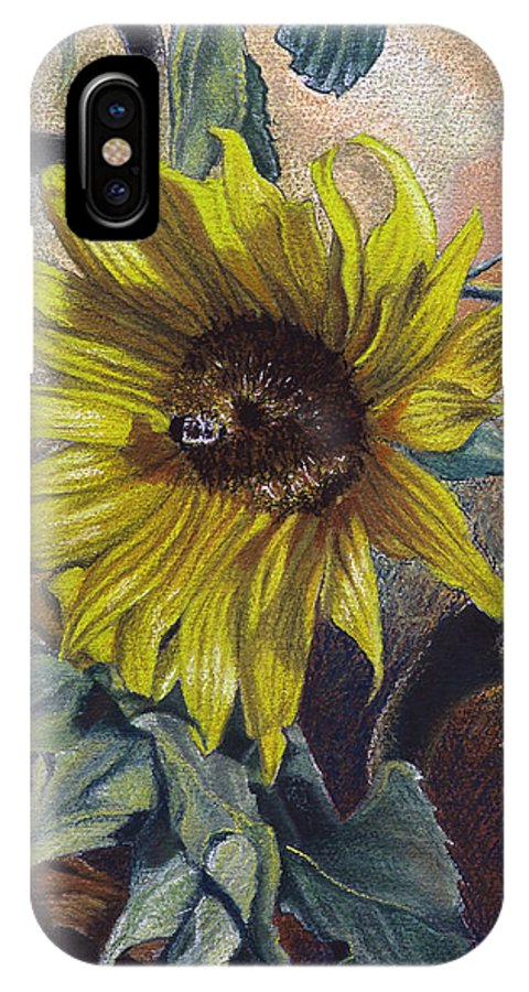 Floral IPhone X Case featuring the painting Bee In A Bonnet by Peter Muzyka