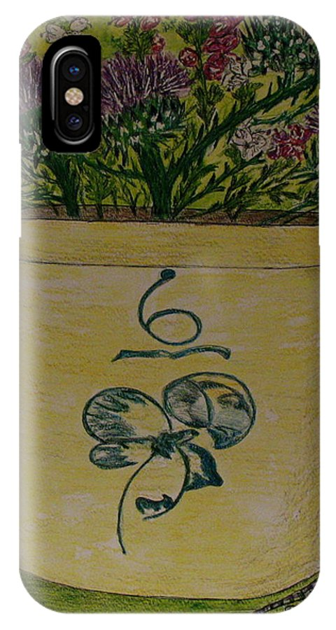 Bee Sting Crock IPhone X Case featuring the painting Bee Sting Crock With Good Luck Bow Heather And Thistles by Kathy Marrs Chandler