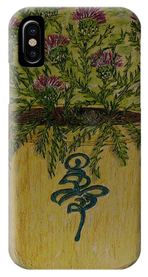 Vintage IPhone X Case featuring the painting Bee Sting Crock With Good Luck Horseshoe by Kathy Marrs Chandler