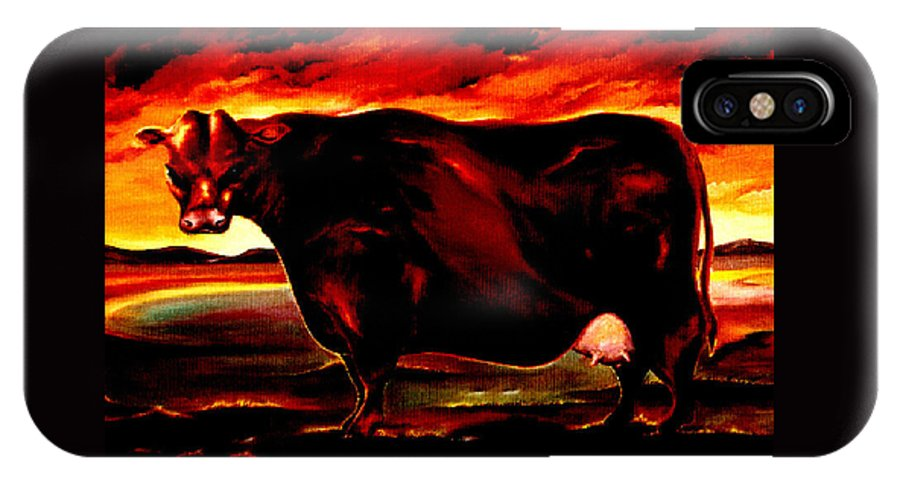 Farm Animal IPhone X Case featuring the painting Beef Holocaust IIi by Mark Cawood
