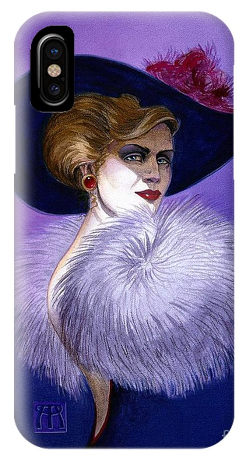 Purple IPhone X Case featuring the painting Beezu by Melissa A Benson