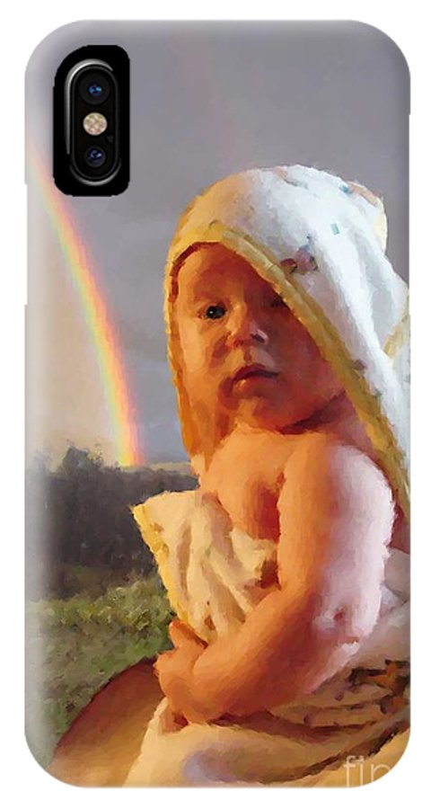 Portrait IPhone X Case featuring the digital art Before She Smiled Or Mona Little by Ron Bissett
