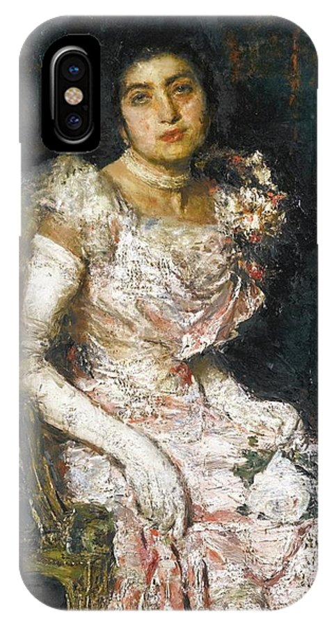 Antonio Mancini Italian 1852 - 1930 Before The Ball IPhone X Case featuring the painting Before The Ball by MotionAge Designs