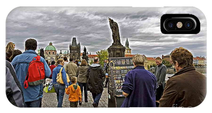 Prague IPhone X Case featuring the photograph Before The Rain On The Charles Bridge by Madeline Ellis