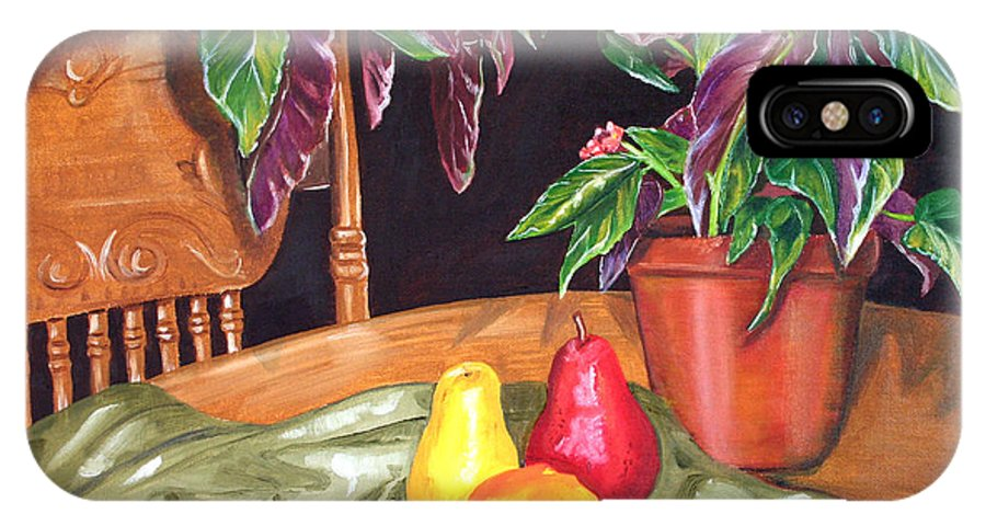 Still Life IPhone X Case featuring the painting Begonias And Pears by Dorothy Riley