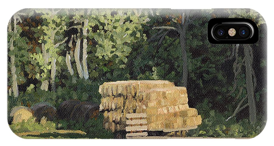 Landscape IPhone X Case featuring the painting Behind The Grove by Bruce Morrison