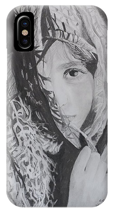 Graphite IPhone X Case featuring the drawing Behind The Veil by Quwatha Valentine