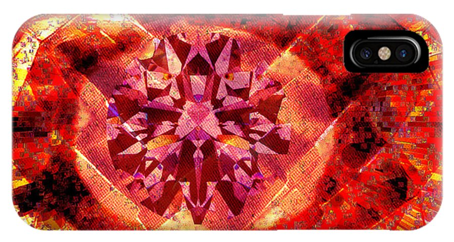 Abstract IPhone X Case featuring the photograph Behold the Jeweled Eye of Blood by Seth Weaver