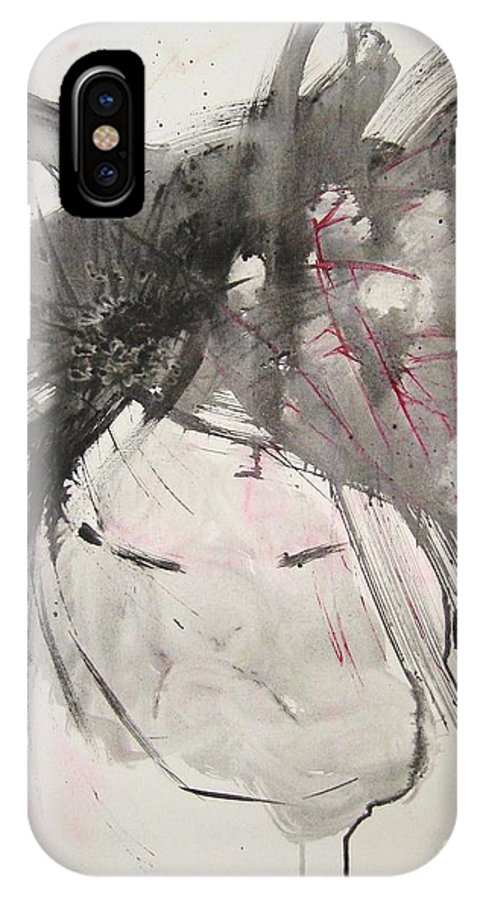 Black And White Paintings IPhone X / XS Case featuring the painting Being Patient by Seon-Jeong Kim