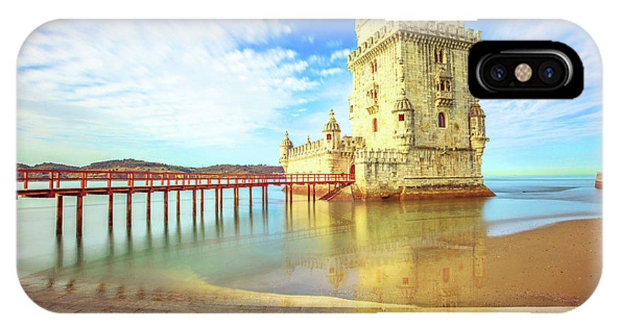 Lisbon IPhone X Case featuring the photograph Belem Tower Reflects by Benny Marty