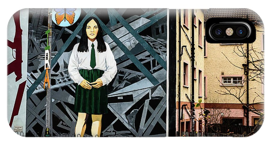 Belfast IPhone X Case featuring the photograph Belfast Mural - Butterfly - Ireland by Jon Berghoff