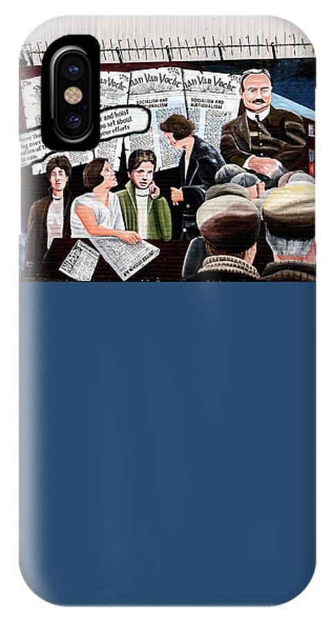 Belfast IPhone X Case featuring the photograph Belfast Mural - Sledge Hammer - Ireland by Jon Berghoff