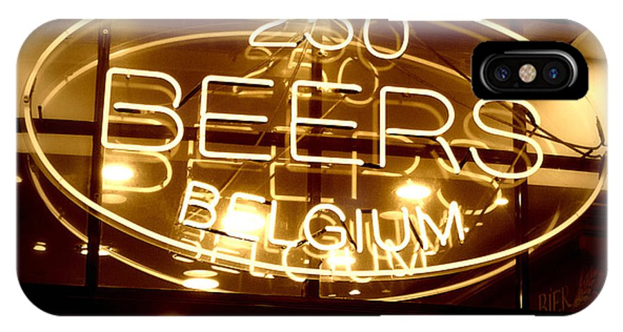 Home Bar IPhone X Case featuring the photograph Belgian Beer Sign by Carol Groenen
