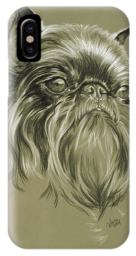 Toy Group IPhone X Case featuring the drawing Belgian Griffon by Barbara Keith