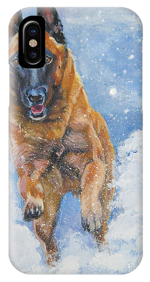 Belgian Malinois IPhone X Case featuring the painting Belgian Malinois In Snow by Lee Ann Shepard