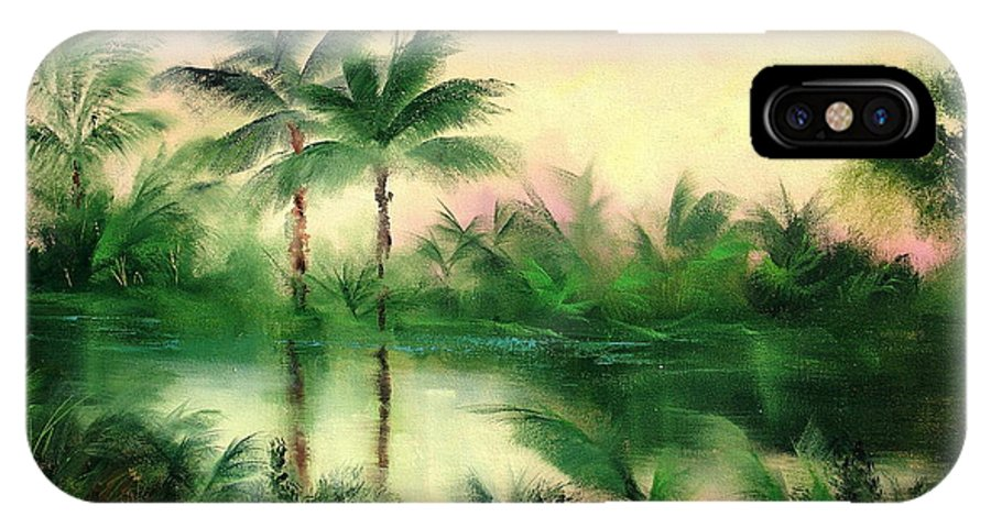 Tropics IPhone X Case featuring the painting Belize River by Sally Seago
