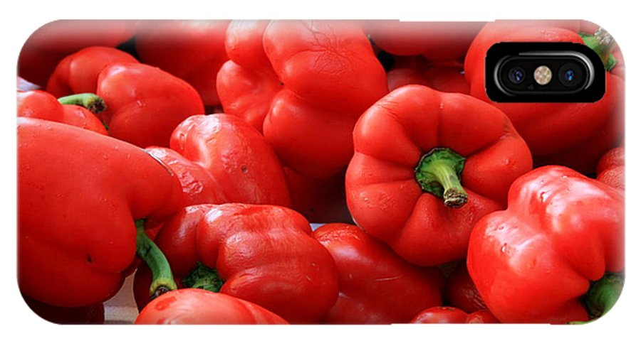 Red IPhone X Case featuring the photograph Bell Peppers Red by David Dunham