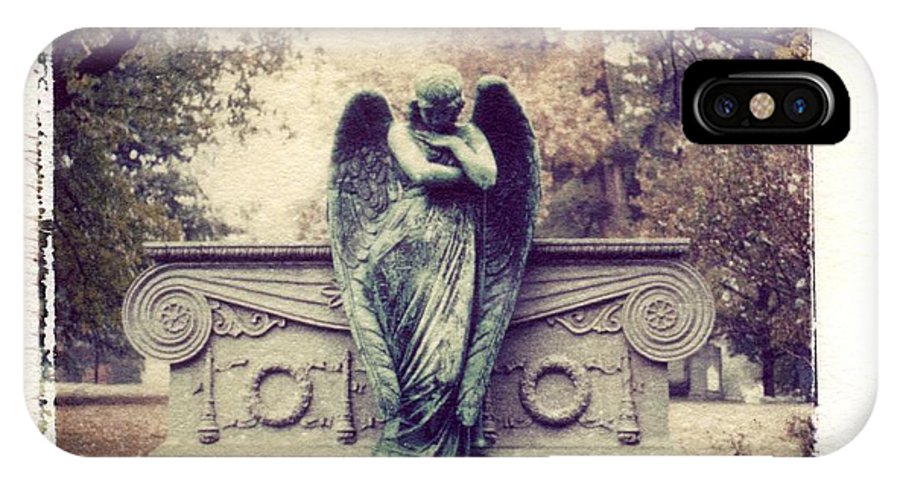 Bellefontain Angel IPhone X Case featuring the photograph Bellefontaine Angel Polaroid transfer by Jane Linders
