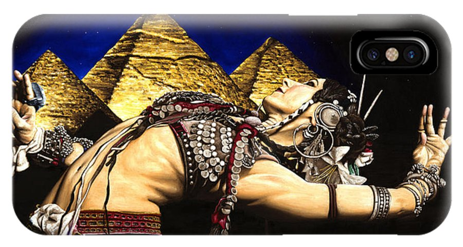 Bellydance IPhone X Case featuring the painting Bellydance Of The Pyramids - Rachel Brice by Richard Young