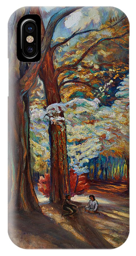 Trees IPhone X Case featuring the painting Below The Blossums by Maris Salmins