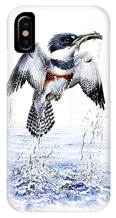 Chris Cox IPhone X Case featuring the painting Belted Kingfisher by Christopher Cox