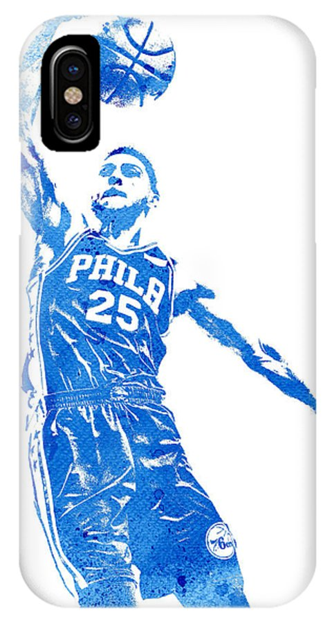 adce1182c55 Ben Simmons IPhone X Case featuring the mixed media Ben Simmons  Philadelphia 76ers Water Color Pixel