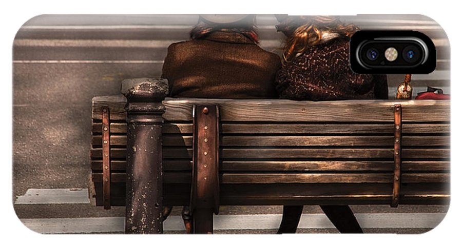 Steampunk IPhone X Case featuring the photograph Bench - A Couple Out Of Time by Mike Savad