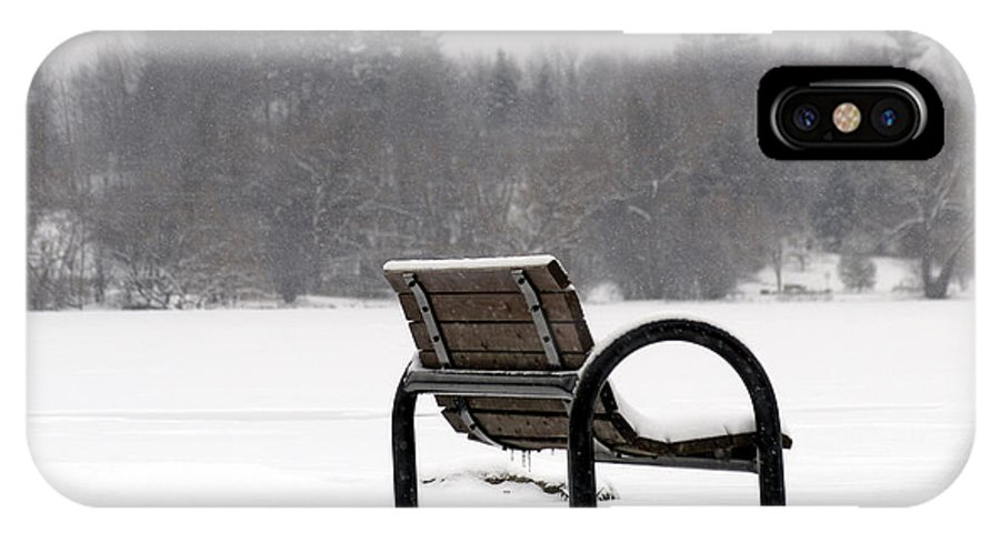 Bench IPhone Case featuring the photograph Bench In Winter by Steve Somerville
