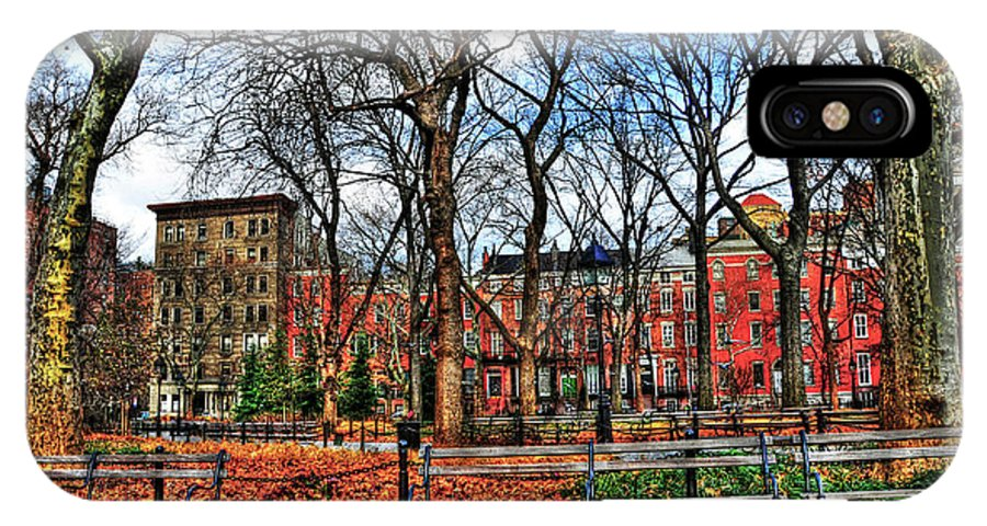 Wsp IPhone X Case featuring the photograph Bench View In Washington Square Park by Randy Aveille