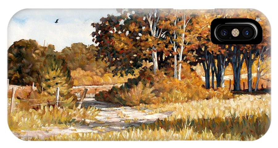 Landscape IPhone X Case featuring the painting Bend in the Road by Kevin Lawrence Leveque