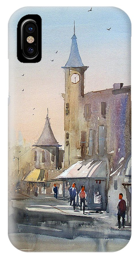 Watercolor IPhone X Case featuring the painting Berlin Clock Tower by Ryan Radke