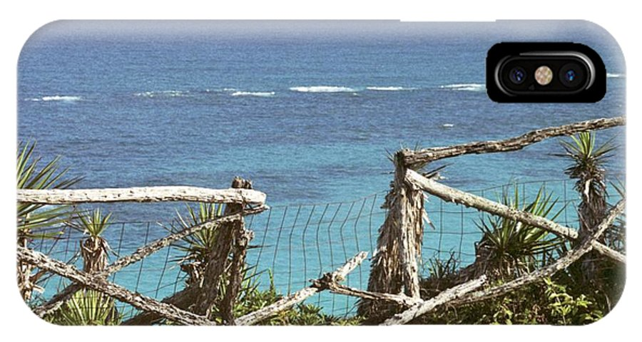 Bermuda IPhone X Case featuring the photograph Bermuda Fence And Ocean Overlook by Heather Kirk