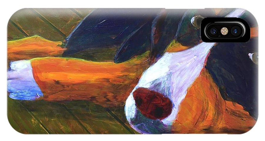 Bernese Mountain Dog IPhone X Case featuring the painting Bernese Mtn Dog On The Deck by Donald J Ryker III