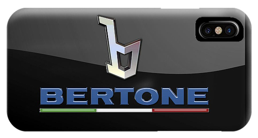 'auto Badges' Collection By Serge Averbukh IPhone X Case featuring the photograph Bertone - 3 D Badge On Black by Serge Averbukh