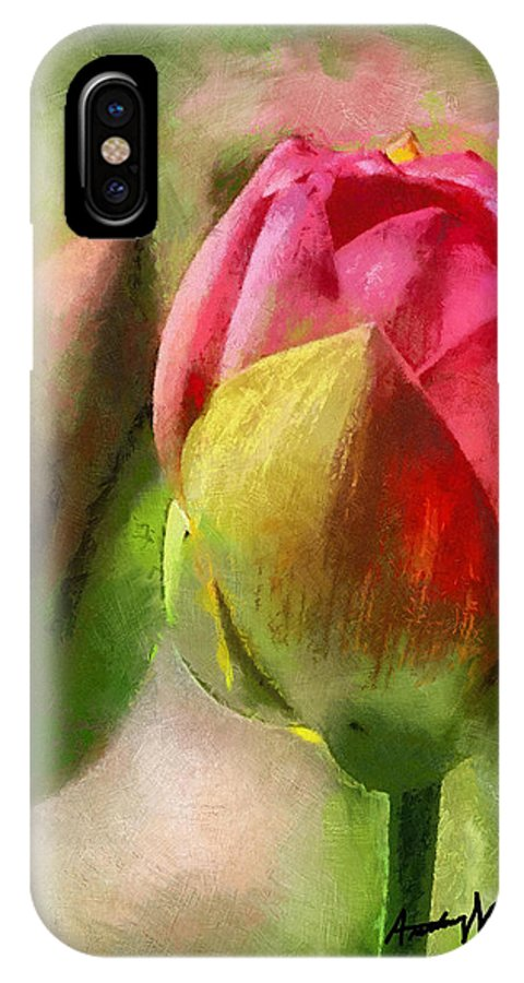 Buds IPhone X Case featuring the painting Best Buds by Anthony Caruso