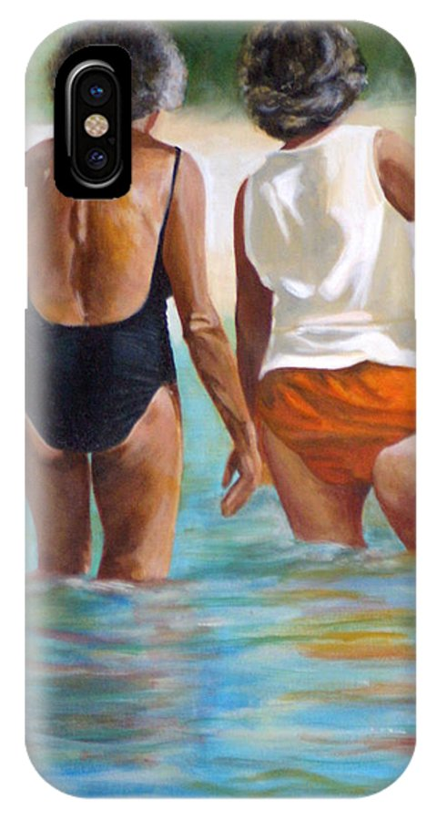 Friends IPhone X Case featuring the painting Best Friends by Fiona Jack