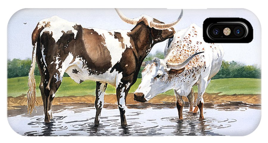 Longhorns IPhone Case featuring the painting Best Friends by Howard Dubois