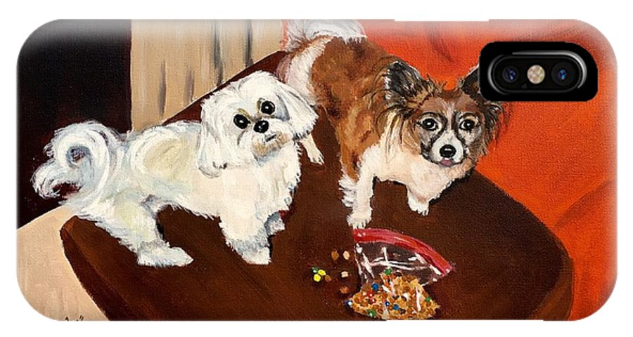 Dogs IPhone X Case featuring the painting Best Friends by Judy Swerlick