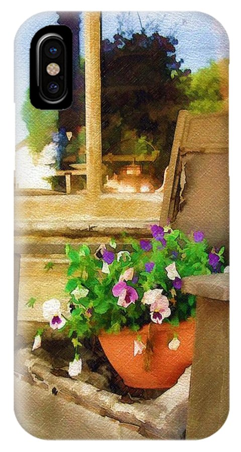 Pansies IPhone X Case featuring the photograph Best Seat In The House by Sandy MacGowan