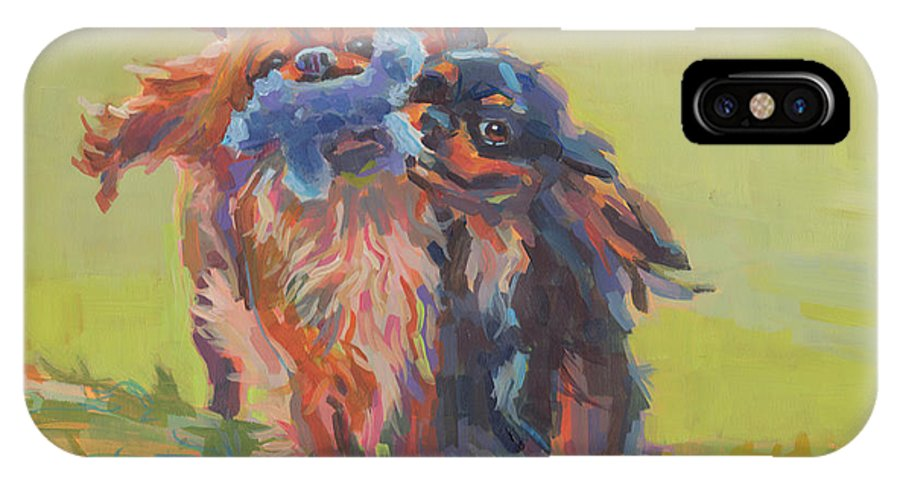 Cavalier IPhone X Case featuring the painting Besties by Kimberly Santini