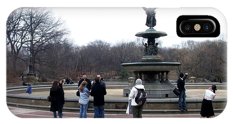 Bethesda Fountain IPhone X / XS Case featuring the photograph Bethesda Fountain by Anita Burgermeister