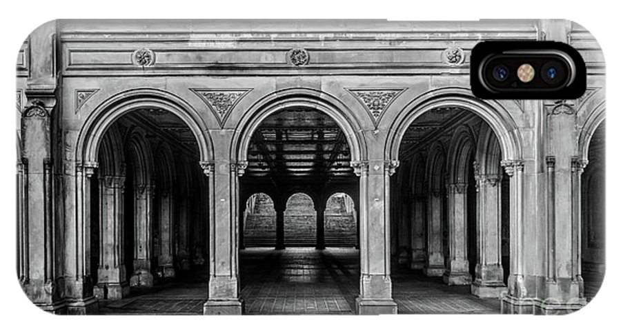 Central Park IPhone X Case featuring the photograph Bethesda Terrace Arcade 4 - Bw by James Aiken