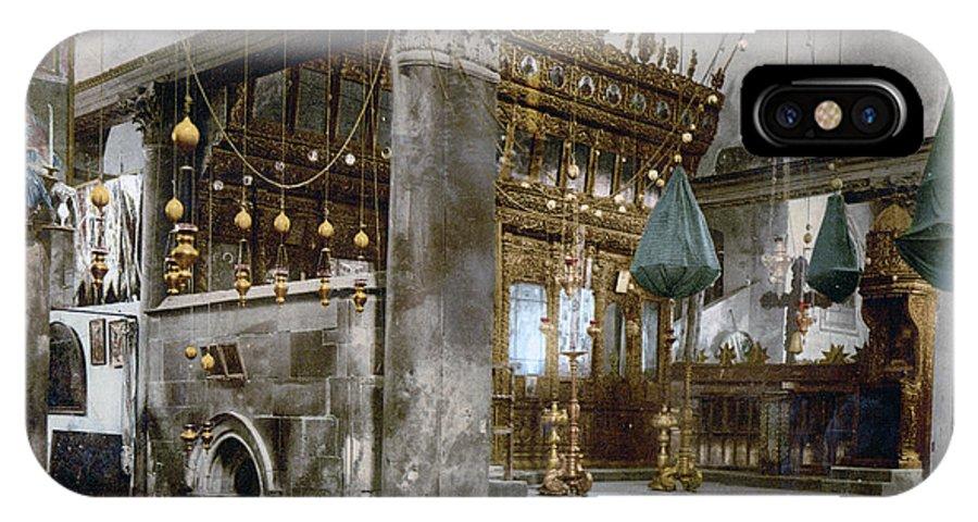 Nativity IPhone X Case featuring the photograph Bethlehem - Inside Nativity Church 1890 by Munir Alawi