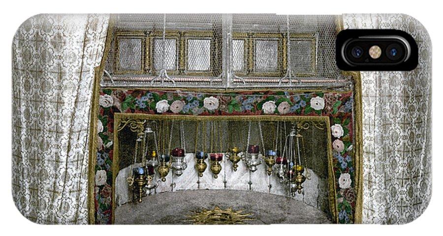 Nativity IPhone X Case featuring the photograph Bethlehem - Nativity Star 1890 by Munir Alawi