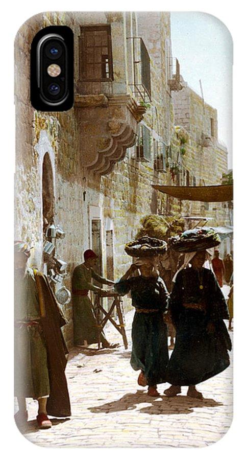 Bethlehem IPhone X Case featuring the photograph Bethlehem Merchant Street by Munir Alawi